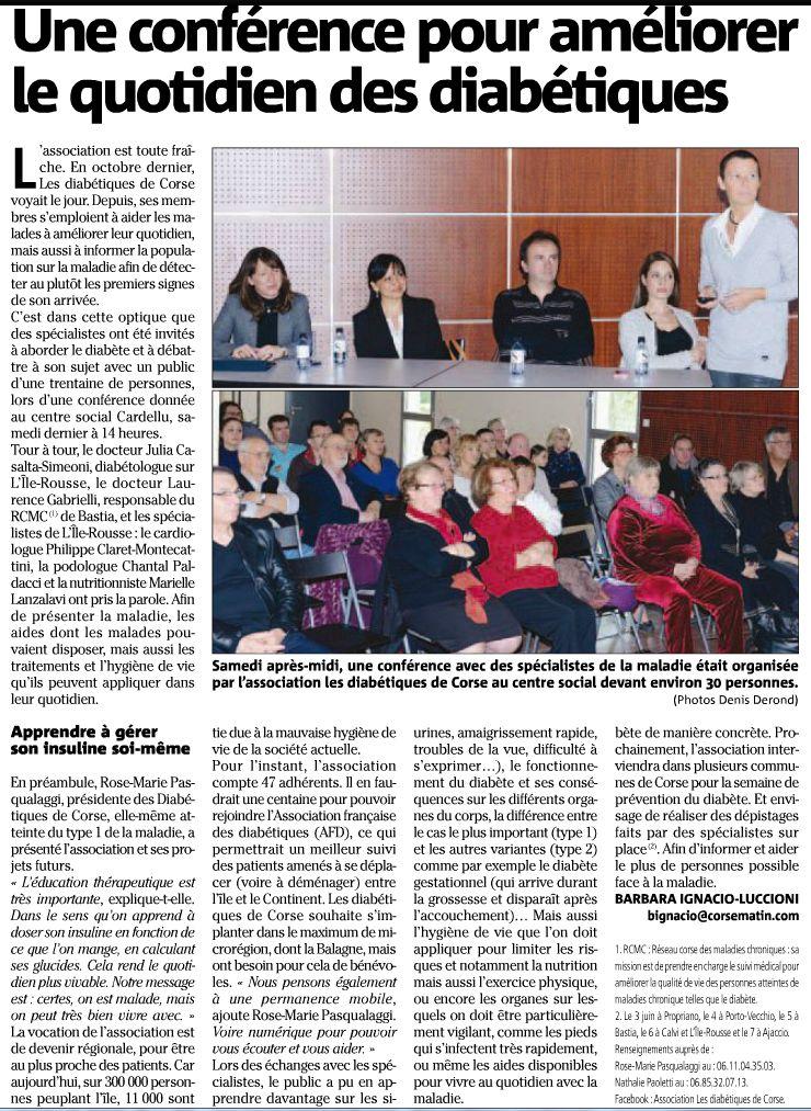 Article sur la conférence sur le diabète à Calvi